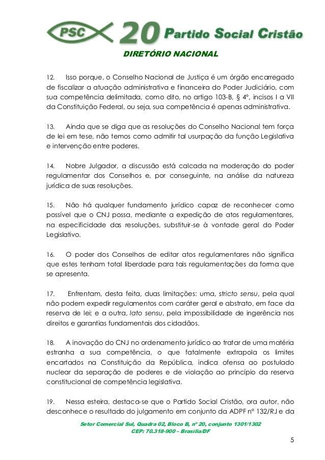 DIRETÓRIO NACIONALSetor Comercial Sul, Quadra 02, Bloco B, nº 20, conjunto 1301/1302CEP: 70.318-900 – Brasília/DF512. Isso...
