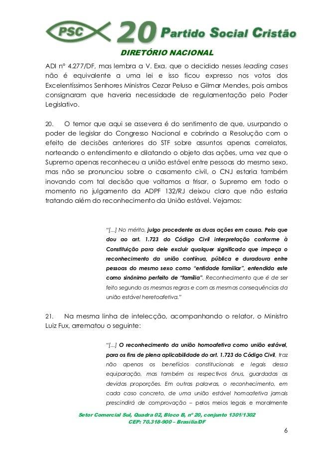 DIRETÓRIO NACIONALSetor Comercial Sul, Quadra 02, Bloco B, nº 20, conjunto 1301/1302CEP: 70.318-900 – Brasília/DF6ADI nº 4...
