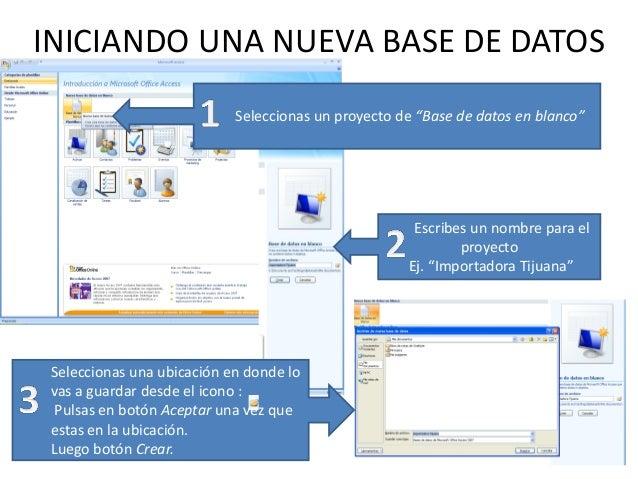 """INICIANDO UNA NUEVA BASE DE DATOS                            Seleccionas un proyecto de """"Base de datos en blanco""""         ..."""