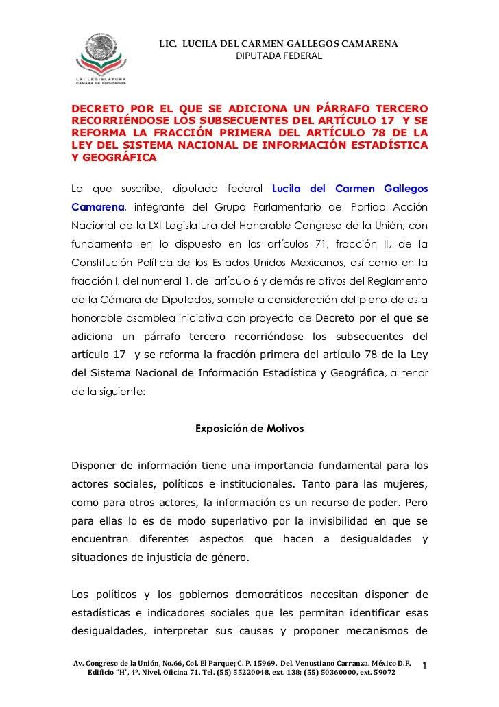 LIC. LUCILA DEL CARMEN GALLEGOS CAMARENA                                               DIPUTADA FEDERALDECRETO POR EL QUE ...