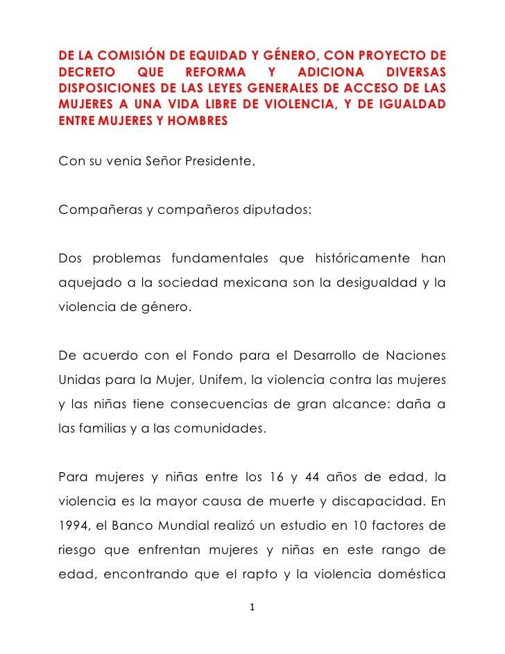 DE LA COMISIÓN DE EQUIDAD Y GÉNERO, CON PROYECTO DE DECRETO QUE REFORMA Y ADICIONA DIVERSAS DISPOSICIONES DE LAS LEYES GEN...