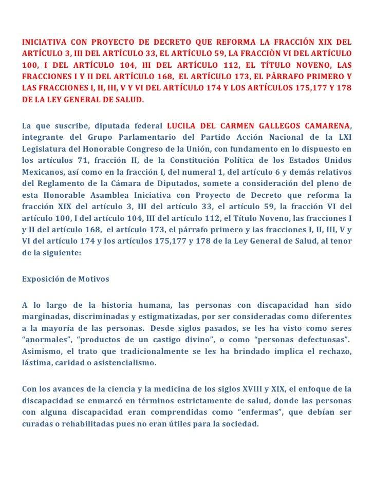 INICIATIVA CON PROYECTO DE DECRETO QUE REFORMA LA FRACCIÓN XIX DEL ARTÍCULO 3, III DEL ARTÍCULO 33, EL ARTÍCULO 59, LA FRA...