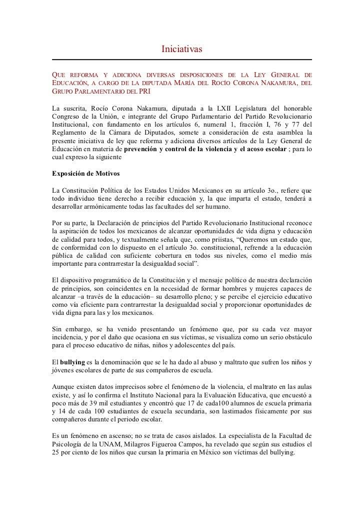IniciativasQUE REFORMA Y ADICIONA DIVERSAS DISPOSICIONES DE LA LEY GENERAL DEEDUCACIÓN, A CARGO DE LA DIPUTADA MARÍA DEL R...