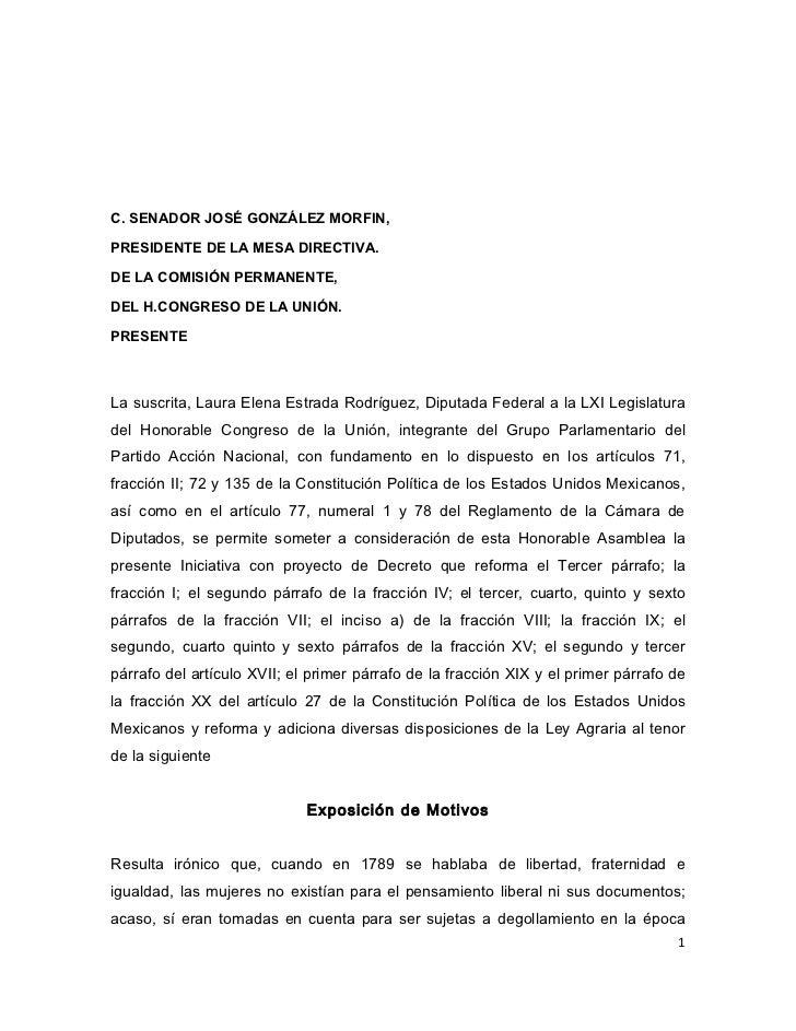 C. SENADOR JOSÉ GONZÁLEZ MORFIN,PRESIDENTE DE LA MESA DIRECTIVA.DE LA COMISIÓN PERMANENTE,DEL H.CONGRESO DE LA UNIÓN.PRESE...