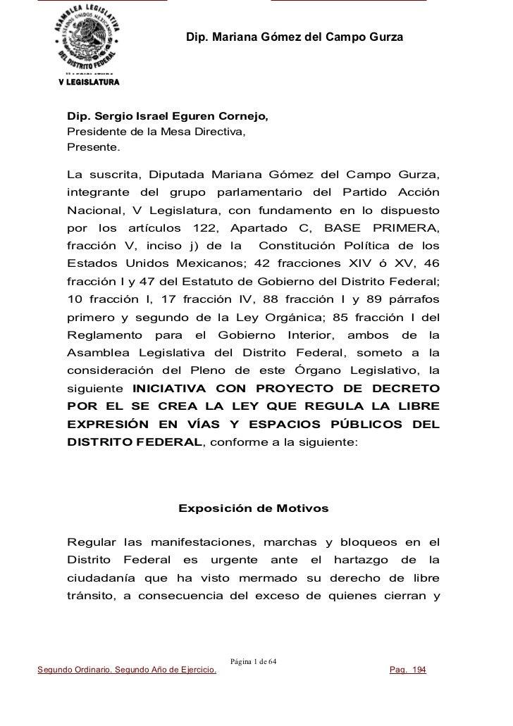 Dip. Mariana Gómez del Campo GurzaV LEGISLATURA Dip. Sergio Israel Eguren Cornejo, Presidente de la Mesa Directiva, Presen...