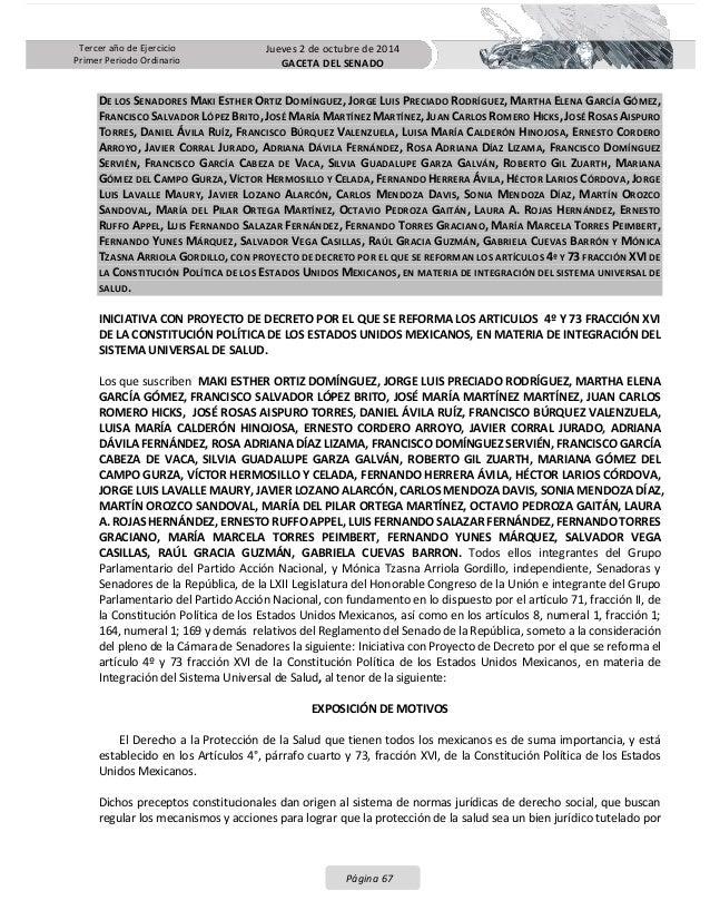 Iniciativa de Reforma al sistema universal de salud presentada por el GPPAN en el senado con su proceso legislativo Slide 2