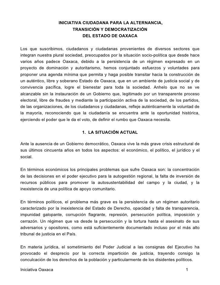 INICIATIVA CIUDADANA PARA LA ALTERNANCIA,                           TRANSICIÓN Y DEMOCRATIZACIÓN                          ...