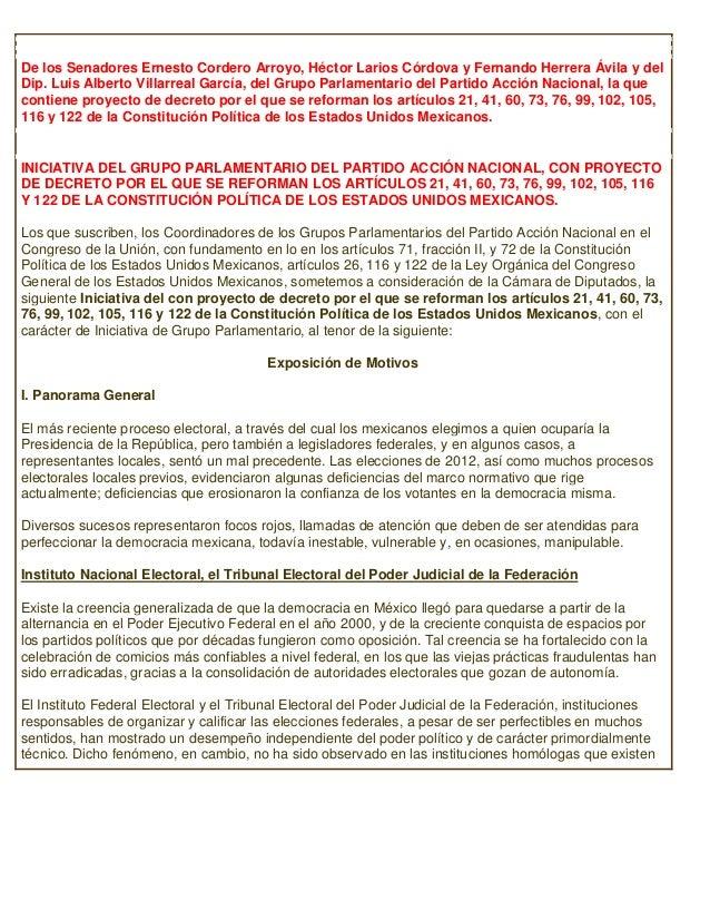 De los Senadores Ernesto Cordero Arroyo, Héctor Larios Córdova y Fernando Herrera Ávila y delDip. Luis Alberto Villarreal ...