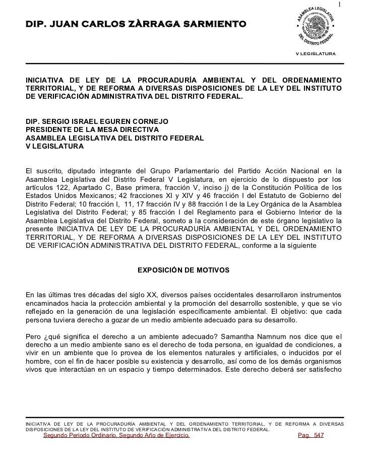 1DIP. JUAN CARLOS ZÀRRAGA SARMIENTOINICIATIVA DE LEY DE LA PROCURADURÍA AMBIENTAL Y DEL ORDENAMIENTOTERRITORIAL, Y DE REFO...
