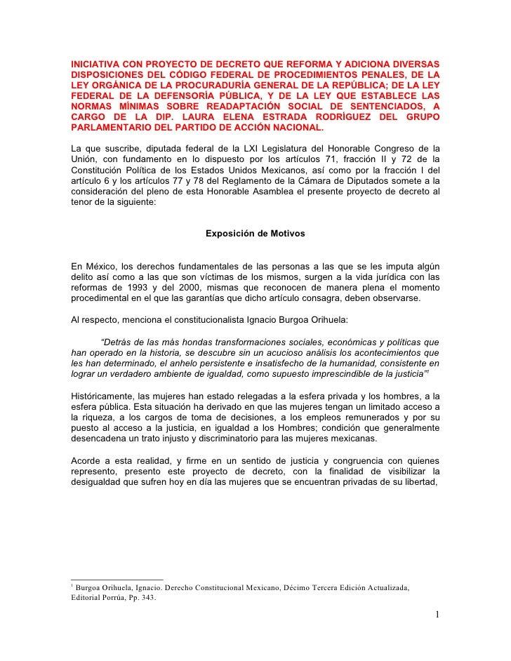 INICIATIVA CON PROYECTO DE DECRETO QUE REFORMA Y ADICIONA DIVERSASDISPOSICIONES DEL CÓDIGO FEDERAL DE PROCEDIMIENTOS PENAL...