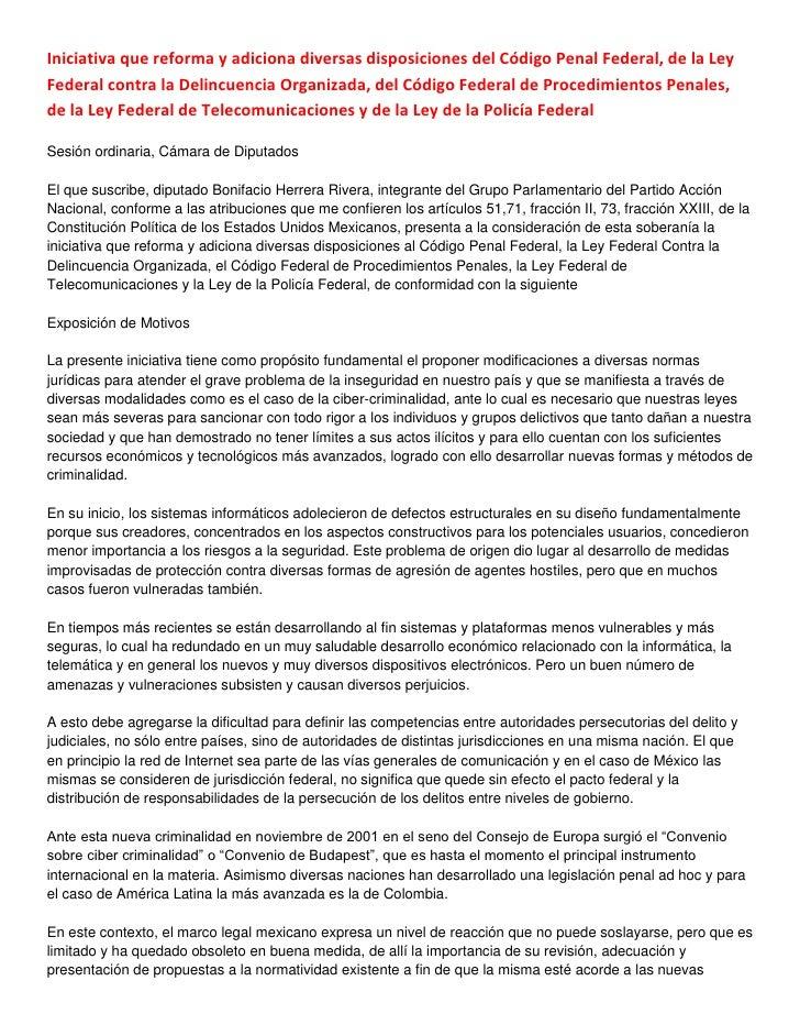 Iniciativa que reforma y adiciona diversas disposiciones del Código Penal Federal, de la LeyFederal contra la Delincuencia...