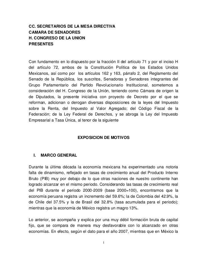 CC. SECRETARIOS DE LA MESA DIRECTIVACAMARA DE SENADORESH. CONGRESO DE LA UNIONPRESENTESCon fundamento en lo dispuesto por ...