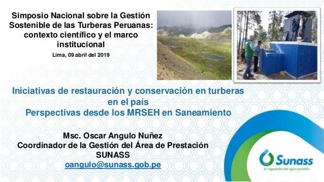 Msc. Oscar Angulo Nuñez Coordinador de la Gestión del Área de Prestación SUNASS oangulo@sunass.gob.pe Simposio Nacional so...