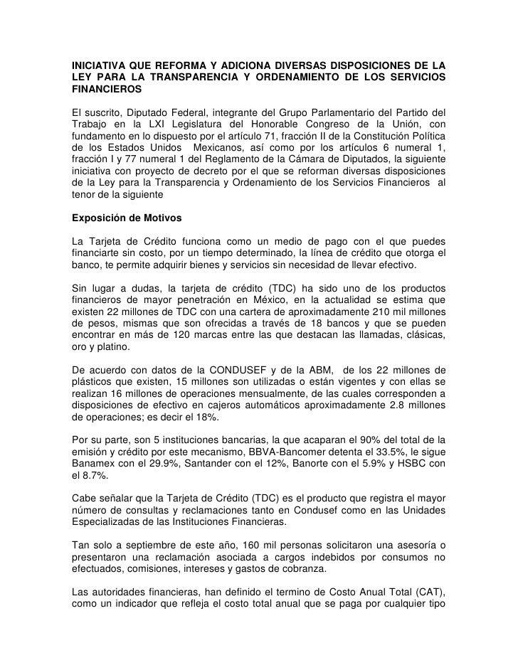 INICIATIVA QUE REFORMA Y ADICIONA DIVERSAS DISPOSICIONES DE LA LEY PARA LA TRANSPARENCIA Y ORDENAMIENTO DE LOS SERVICIOS F...