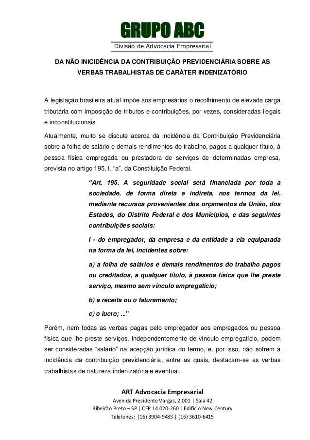 GRUPO ABC Divisão de Advocacia Empresarial  DA NÃO INICIDÊNCIA DA CONTRIBUIÇÃO PREVIDENCIÁRIA SOBRE AS VERBAS TRABALHISTAS...
