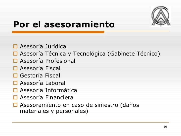 Por el asesoramiento   Asesoría Jurídica   Asesoría Técnica y Tecnológica (Gabinete Técnico)   Asesoría Profesional   ...
