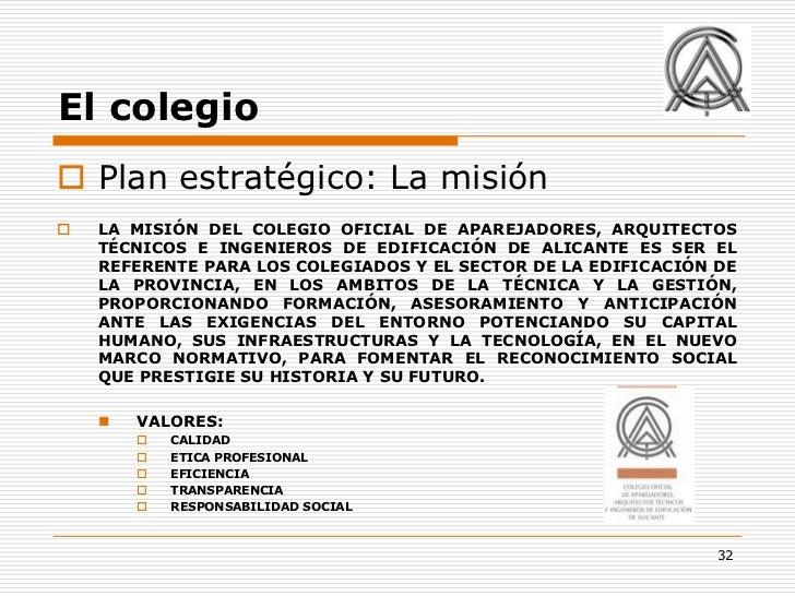 El colegio Plan estratégico: La misión   LA MISIÓN DEL COLEGIO OFICIAL DE APAREJADORES, ARQUITECTOS    TÉCNICOS E INGENI...