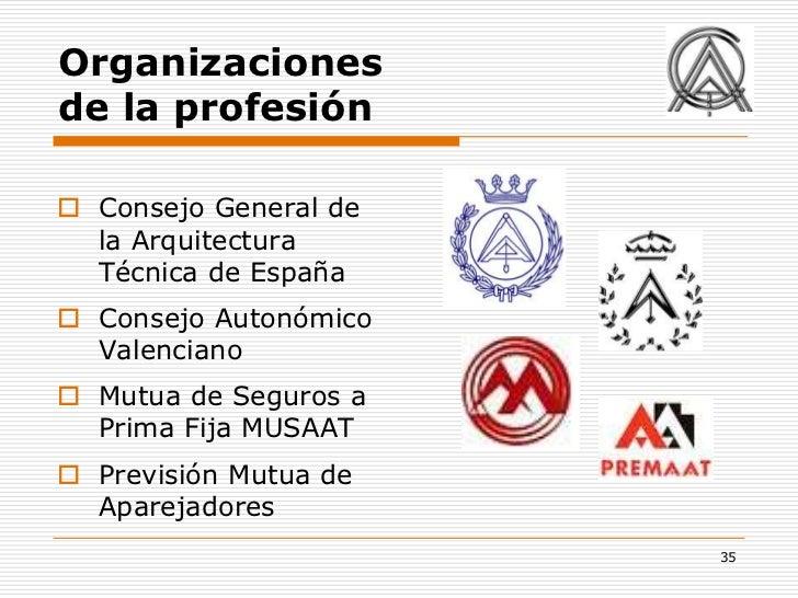 Organizacionesde la profesión Consejo General de  la Arquitectura  Técnica de España Consejo Autonómico  Valenciano Mut...