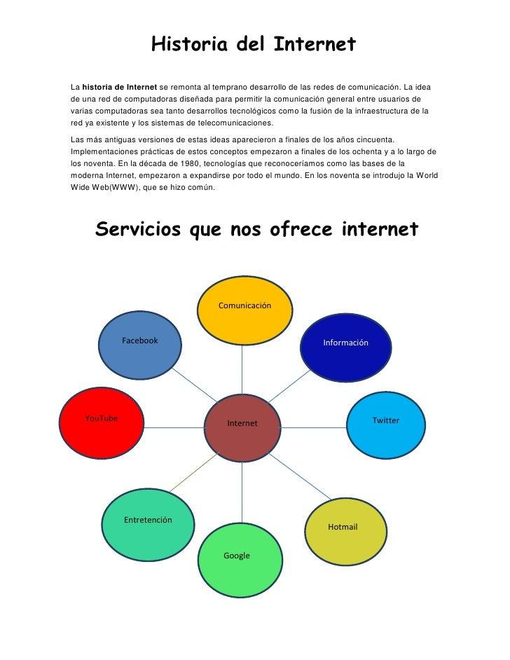 Historia del InternetLa historia de Internet se remonta al temprano desarrollo de las redes de comunicación. La ideade una...
