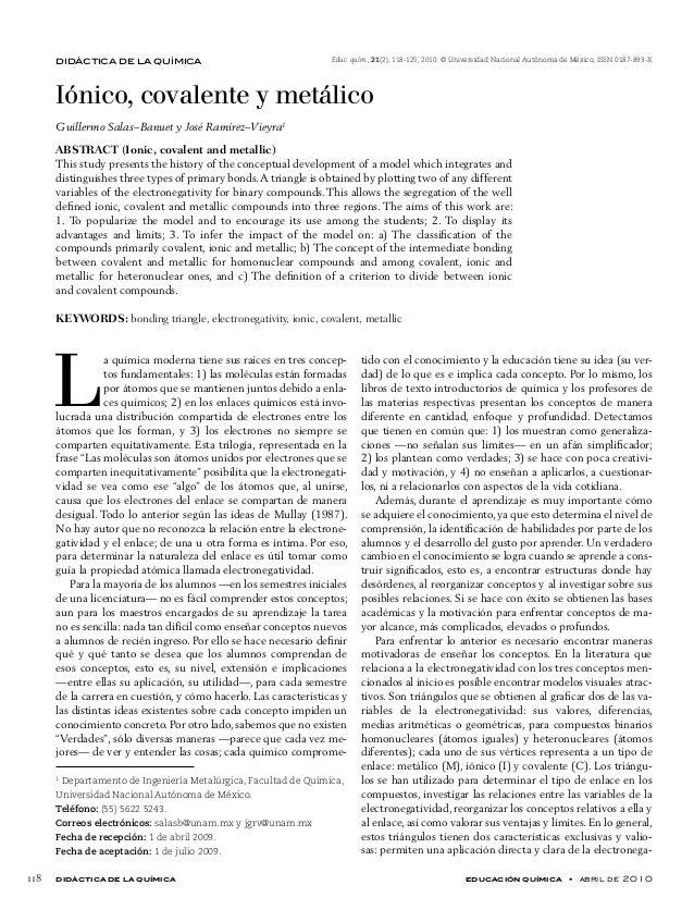 didáctica de la química educación química • abril de 2010 118 didáctica de la química Iónico, covalente y metálico Guil...