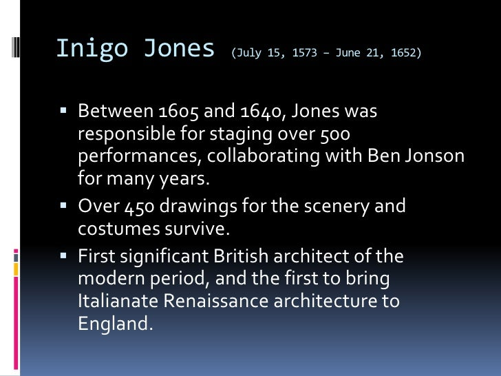 inigo jones and the classical language Inigo jones thus returned to england having seen examples of interiors   initially the adoption of the language of classical architectural ornament by  plasterers.
