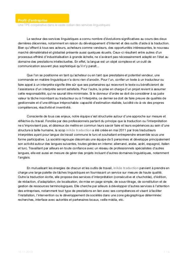 Profil d'entreprise Une TPE coopérative dans le vaste océan des services linguistiques  ! Le secteur des services linguisti...