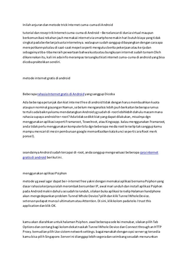 Inilahanjurandanmetode trickInternetcuma-cumadi Android tutorial danreseptrikInternetcuma-cumadi Android –Berselancardi du...