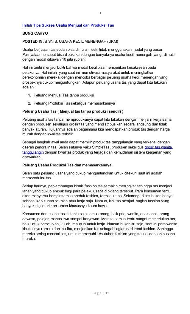 1 Inilah Tips Sukses Usaha Menjual dan Produksi Tas BUNG CAHYO POSTED IN   BISNIS 39fa9acf98