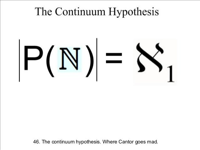 cantor continuum hypothesis Georg cantor's conjecture, the continuum hypothesis without equations, this states that for any set of real numbers, s, one of three things happen: s is finite s has.