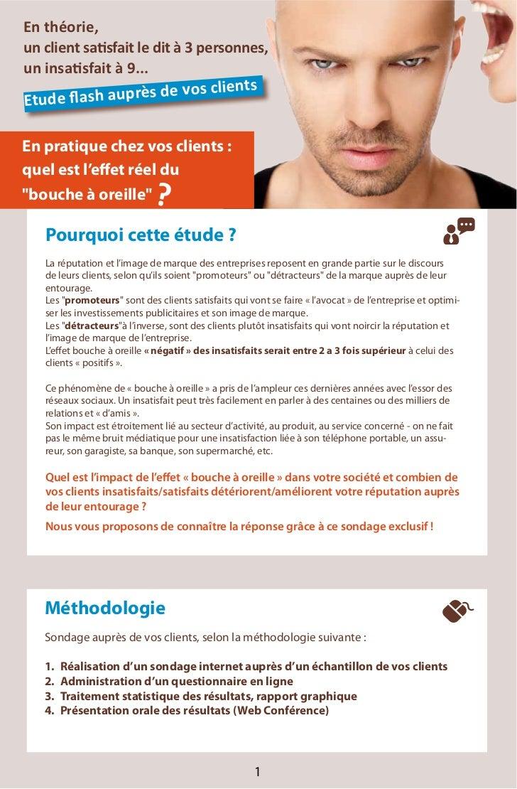 """En pratique chez vos clients : quel est l'effet réel du """"bouche à oreille""""              ?       Pourquoi cette étude ?    ..."""