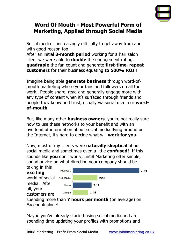 Word Of Mouth - Most Powerful Form of       Marketing, Applied through Social MediaSocial media is increasingly di...