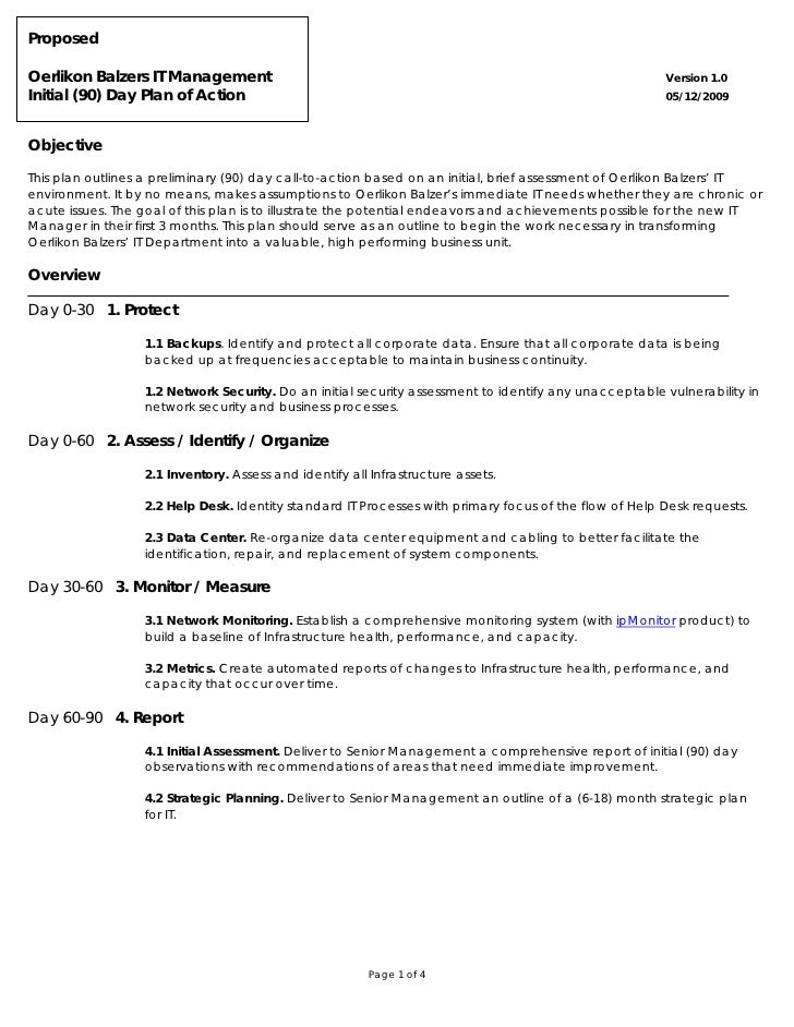 Oerlikon balzers 90 day plan of action for 30 60 90 action plan examples template
