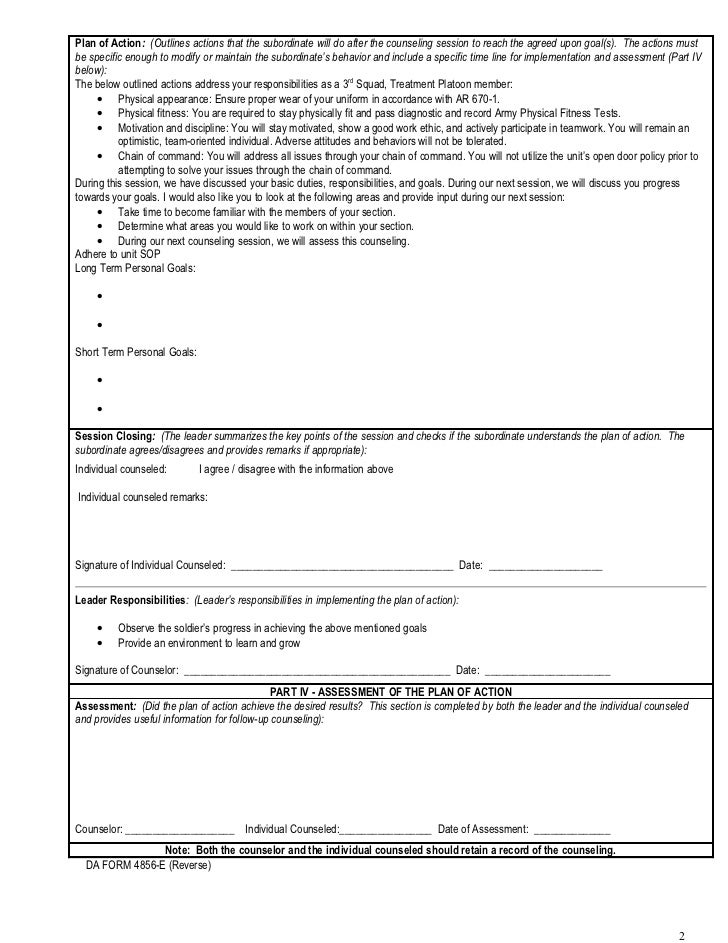 Initial Counseling Template Subordinate