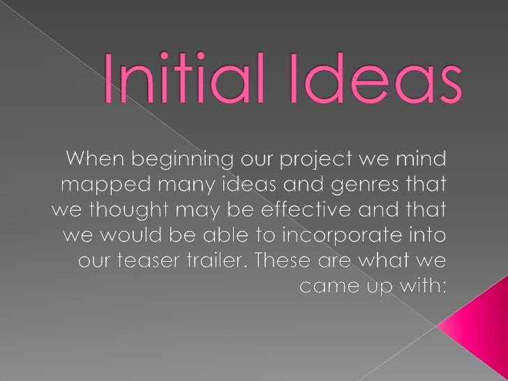 Initial Ideas<br />When beginning our project we mind mapped many ideas and genres that we thought may be effective and th...