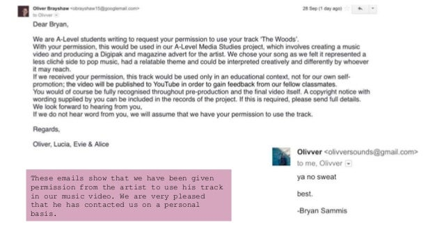 These emails show that we have been given permission from the artist to use his track in our music video. We are very plea...