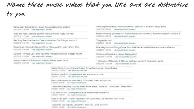 Name three music videos that you like and are distinctive to you