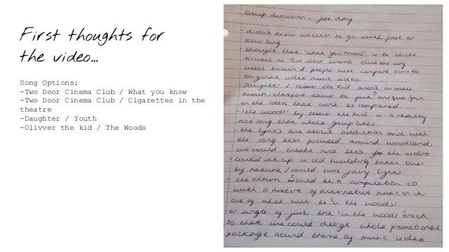 First thoughts for the video… Song Options: -Two Door Cinema Club / What you know -Two Door Cinema Club / Cigarettes in th...