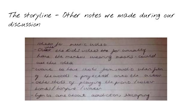 The storyline - Other notes we made during our discussion