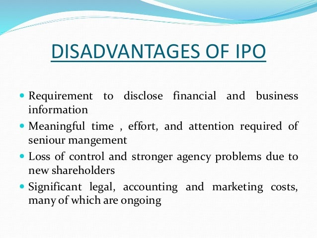 Costs and benefits of an ipo