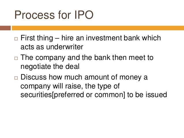 Being an underwriter ipo