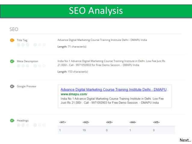 SEO Analysis Next.  Analysis Report Sample