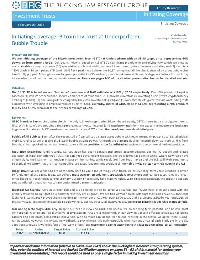 Equity Research Investment Trusts Initiating Coverage February 09, 2018 Initiating Coverage Ticker Rating Target Price Cur...