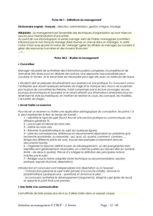 Fiche IM.1 - Définitions du managementDictionnaire anglais - français : direction, administration, gestion, intrigue, manè...