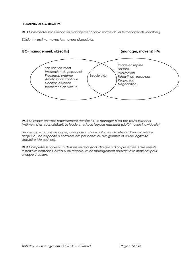 ELEMENTS DE CORRIGE IMIM.1 Commenter la définition du management par la norme ISO et le manager de MintzbergEfficient = op...