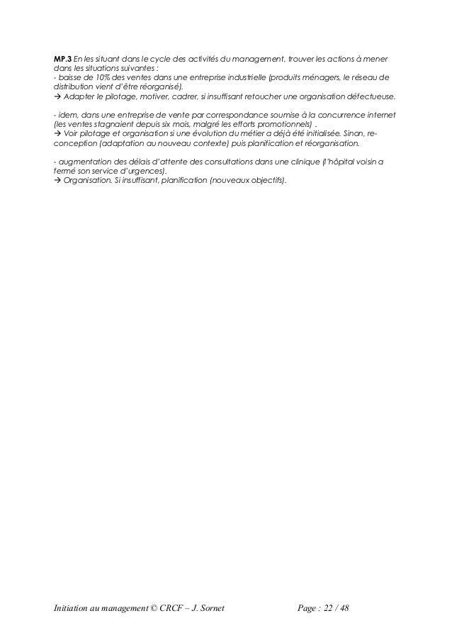 MP.3 En les situant dans le cycle des activités du management, trouver les actions à menerdans les situations suivantes :-...