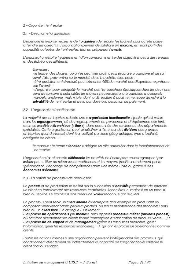 2 – Organiser l'entreprise2.1 – Direction et organisationDiriger une entreprise nécessite de l'organiser (de répartir les ...