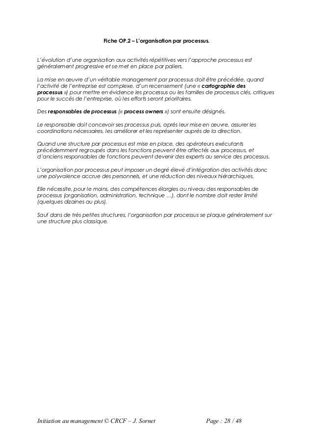 Fiche OP.2 – L'organisation par processus.L'évolution d'une organisation aux activités répétitives vers l'approche process...