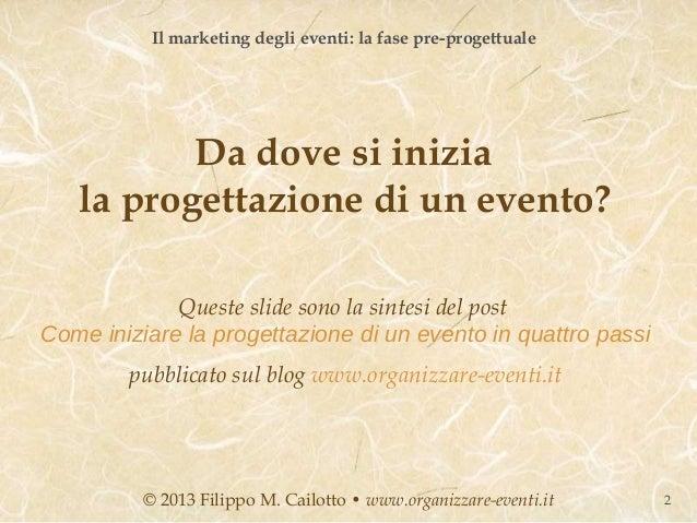 Il marketing degli eventi: la fase pre-progettuale          Da dove si inizia   la progettazione di un evento?            ...