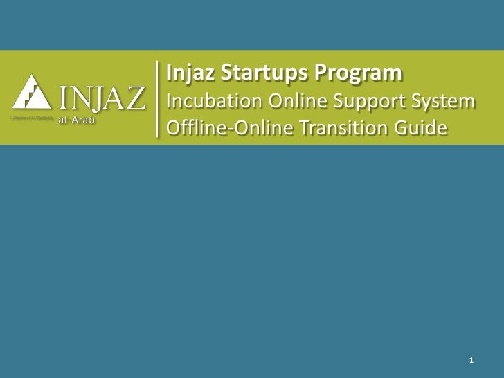 Injaz Startups Program<br />Incubation Online Support System<br />Offline-Online Transition Guide<br />1<br />