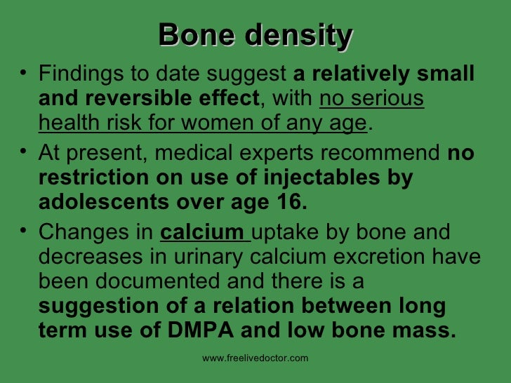 Bone density <ul><li>Findings to date suggest  a relatively small and reversible effect , with  no serious health risk for...